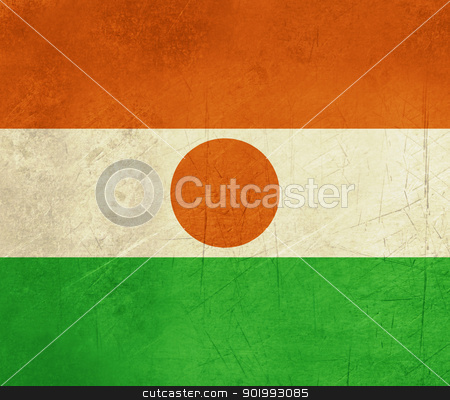 Grunge Niger Flag stock photo, Grunge sovereign state flag of country of Niger in official colors. by Martin Crowdy