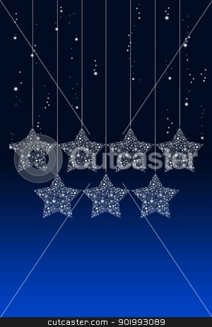 Happy hanging Christmas star with snow background stock photo, Happy hanging Christmas star with snow background by Patipat Rintharasri