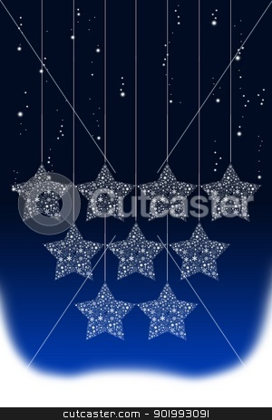 Happy hanging Christmas star with snow background stock photo, Happy hanging Christmas star with snow background by pixbox77