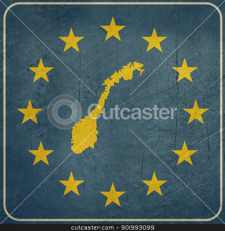 Grunge Norway European button stock photo, Grunge Norway map on blue and starry European button isolated on white background with copy space.  by Martin Crowdy