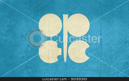 Grunge OPEC flag stock photo, Grunge OPEC or oraganization of oil exporting countries flag. by Martin Crowdy