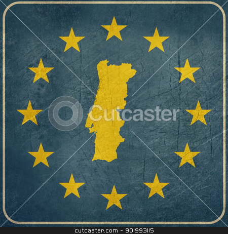Grunge Portugal road sign stock photo, Grunge Portugal European button isolated on white background with copy space.  by Martin Crowdy
