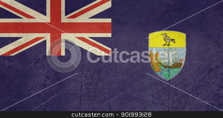 Grunge Saint Helena Flag stock photo, Grunge sovereign state flag of dependent country of Saint Helena in official colors.  by Martin Crowdy
