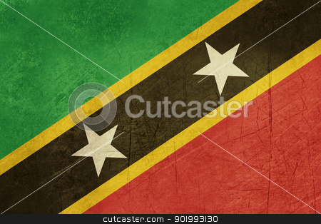 Grunge Saint Kitts and Nevis stock photo, Grunge sovereign state flag of country of Saint Kitts and Nevis in official colors. round by Martin Crowdy