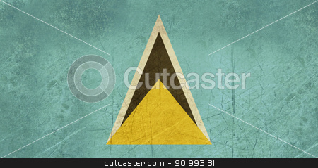 Grunge Saint Lucia Flag stock photo, Grunge sovereign state flag of country of Saint Lucia in official colors.  by Martin Crowdy