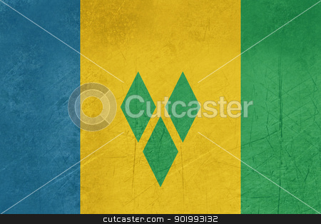 Grunge Saint Vincent and Grenadine stock photo, Grunge sovereign state flag of country of Saint Vincent and Grenadine in official colors.  by Martin Crowdy