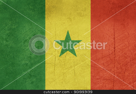 Grunge Senegal Flag stock photo, Grunge sovereign state flag of country of Senegal in official colors.  by Martin Crowdy