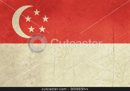 Grunge Singapore Flag stock photo, Grunge sovereign state flag of country of Singapore in official colors. by Martin Crowdy