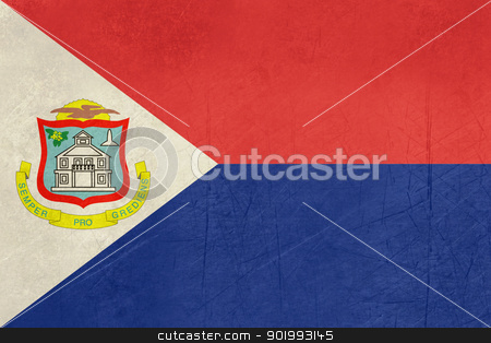 Grunge Sint Maarten flag stock photo, Grunge sovereign state flag of dependent country of Sint Maarten in official colors.  by Martin Crowdy