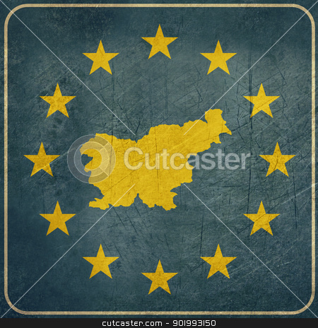 Grunge Slovenia road sign stock photo, Grunge Slovenia European button isolated on white background with copy space.  by Martin Crowdy