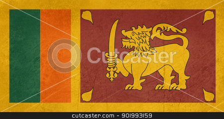 Grunge Sri Lanka Flag stock photo, Grunge sovereign state flag of country of Sri Lanka in official colors.  by Martin Crowdy