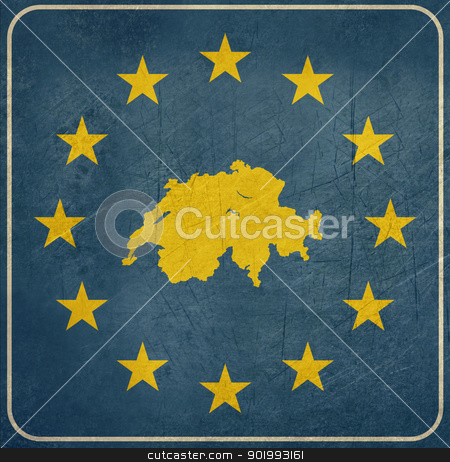 Grunge Switzerland road sign stock photo, Grunge Switzerland European button isolated on white background with copy space.  by Martin Crowdy