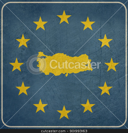 Grunge Turkey road sign stock photo, Grunge Turley European button isolated on white background with copy space.  by Martin Crowdy
