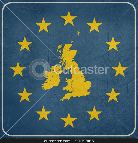 Grunge UK European button stock photo, Grunge UK map on blue and starry European button isolated on white background with copy space.  by Martin Crowdy