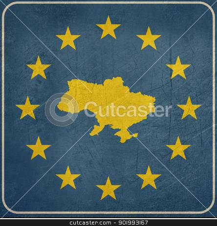 Grunge Ukraine road sign stock photo, Grunge Ukraine European button isolated on white background with copy space.  by Martin Crowdy