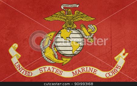 Grunge US Marine Corps flag stock photo, Grunge flag of the United States Marine Corps; isolated on white background. by Martin Crowdy