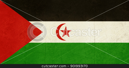 Grunge Western Sahara Flag stock photo, Grunge sovereign state flag of country of Western Sahara in official colors. by Martin Crowdy