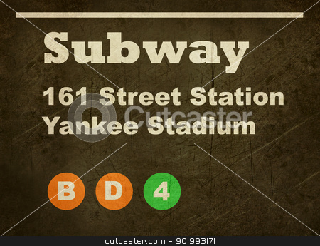 Grunge Yankee Stadium subway sign stock photo, Grunge Yankee Stadium subway train sign isolated on black background. by Martin Crowdy