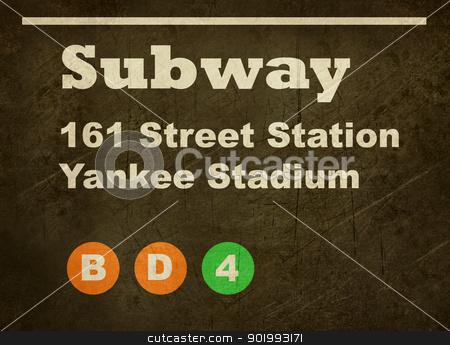 Grunge Yankee Stadium subway sign stock photo, Grunge Yankee Stadium subway train sign isolated on black background. by Martin Crowdy