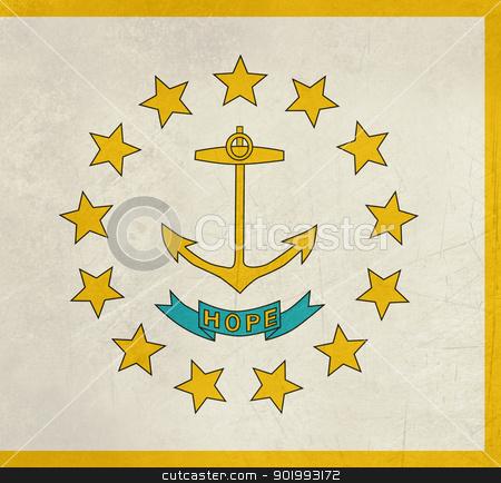 Grungr Rhode Island state flag stock photo, Grunge Rhode Island state flag of America, isolated on white background. by Martin Crowdy