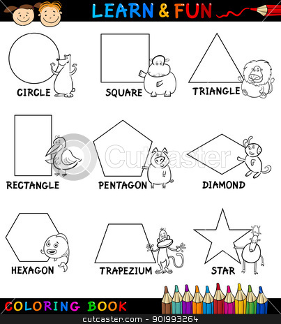 Basic Shapes with Animals for Coloring stock vector clipart, Cartoon Coloring Book or Page Illustration of Basic Geometric Shapes with Captions and Animals Comic Characters for Children Education by Igor Zakowski