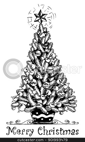 Christmas tree stylized drawing 1 stock vector clipart christmas tree