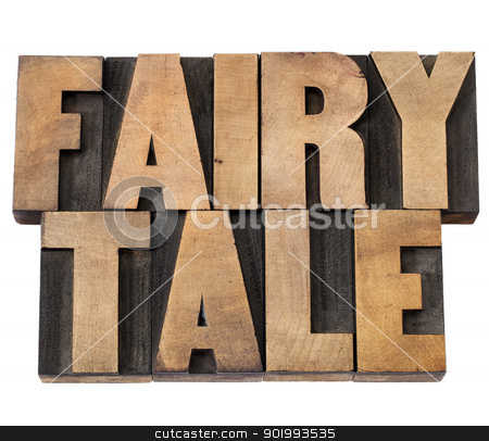 fairy tale in wood type stock photo, fairy tale - isolated text in vintage letterpress wood type by Marek Uliasz