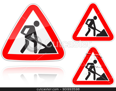 Variants a Works on the road - road sign stock vector clipart, Set of variants a Works on the road - road sign isolated on white background. Group of as fish-eye, simple and grunge icons for your design. Vector illustration. by Andrey Khritin