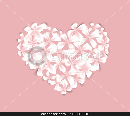 floral heart stock vector clipart, Beautiful  floral heart on a pink background by Miroslava Hlavacova