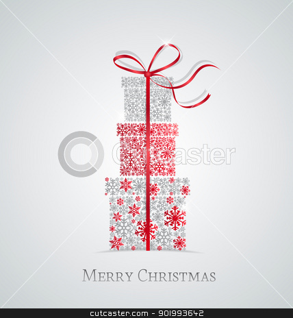 Christmas presents  stock vector clipart, Elegant Christmas background with gift boxes made from snowflakes by Miroslava Hlavacova
