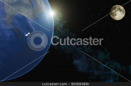 Blue Planet stock photo, This image shows the earth with moon and sun by kirschner