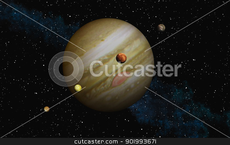 Jupiter stock photo, This image shows  Jupiter with her biggest moons by kirschner