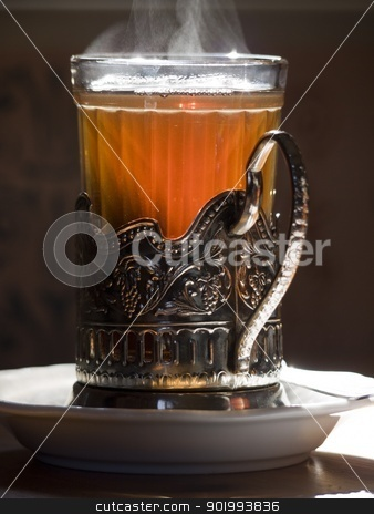 teaglass stock photo, russian teaglass with hot tea by Heike Jestram