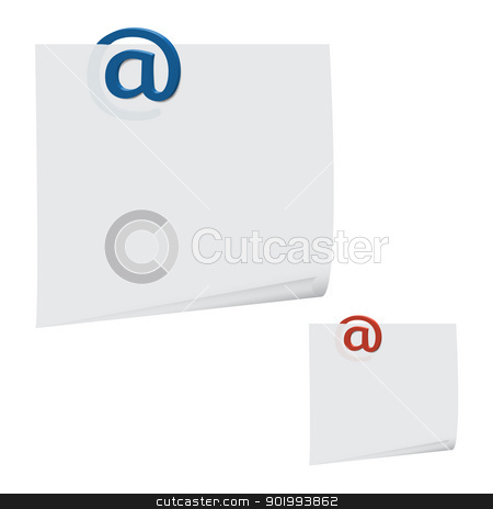 message paperclip stock vector clipart, new reminder with electronic mail symbol isolated on white background by metrue