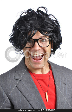 Crazy nerd stock photo, Closeup of crazy happy nerd with wild wig on white background by Chad Zuber