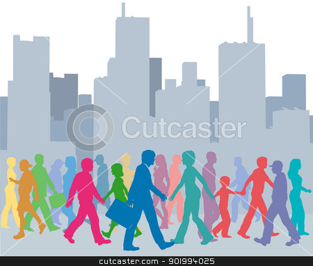 Crowd of people colors walk city stock vector clipart, Crowd of city people go walking in front of buildings skyline  by Michael Brown
