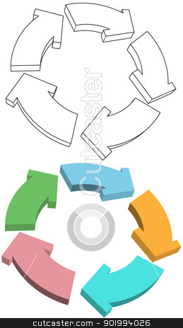 Curvy Arrows cycle recycle colors drawing stock vector clipart, Curvy Arrows cycle recycle in 3D colors and drawings by Michael Brown