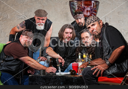 Tough Biker Gang with Weapons stock photo, Tough group of Caucasian biker gang members with weapons by Scott Griessel
