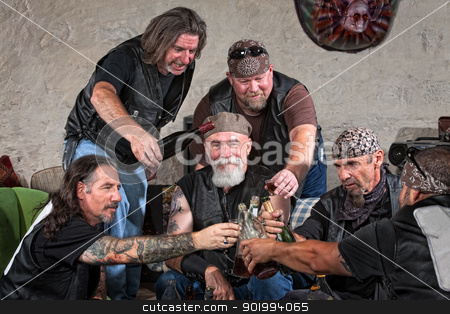 Gang Members Toasting stock photo, Happy gang members toasting with bottle of liquor by Scott Griessel