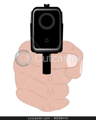 Hand Gun stock vector clipart, An automatic hand gun aimed at the viewer. by Kotto