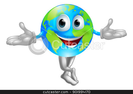 Globe world mascot man stock vector clipart, A cute cartoon illustration of a globe world mascot man by Christos Georghiou
