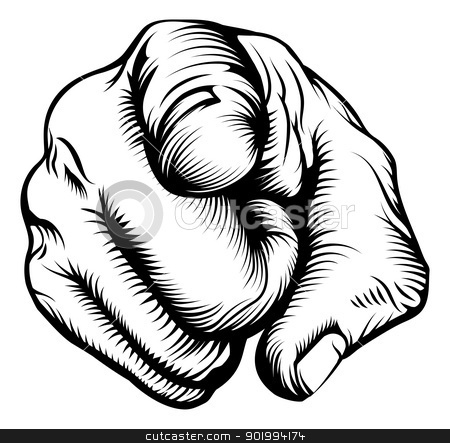 Hand pointing at viewer stock vector clipart, Retro black woodcut print style hand pointing finger at viewer, from front  by Christos Georghiou