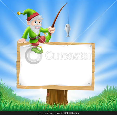 Garden gnome or elf sign stock vector clipart, Illustration of a happy garden gnome or elf sitting on a sign holding a fishing rod by Christos Georghiou