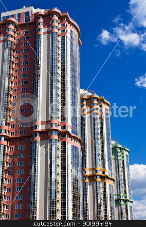 Buildings stock photo, Modern apartment buildings under blue sky by Alexey Popov