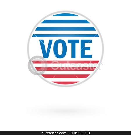 United States Election Vote Button stock vector clipart, United States Election Vote Button by Erdem