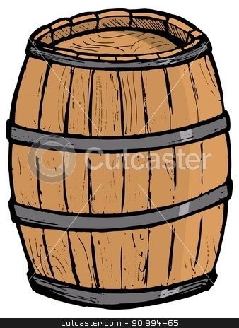 Old wooden barrel stock vector clipart, Old wooden barrel on the white background by Oleksandr Kovalenko