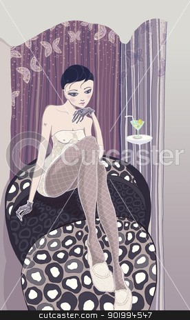 Waiting. stock photo, Waiting. The girl waits for a meeting. raster illustration.  by Natalia Konstantinova
