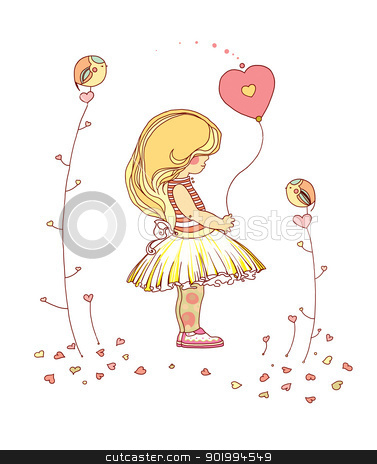 Little girl. stock photo, Little girl. The little girl with a balloon. Raster illustration.  by Natalia Konstantinova