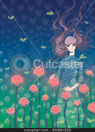 Girl and flowers.  stock photo, Girl and flowers. The beautiful girl carefully looks after gentle buds of colors. A raster illustration.  by Natalia Konstantinova
