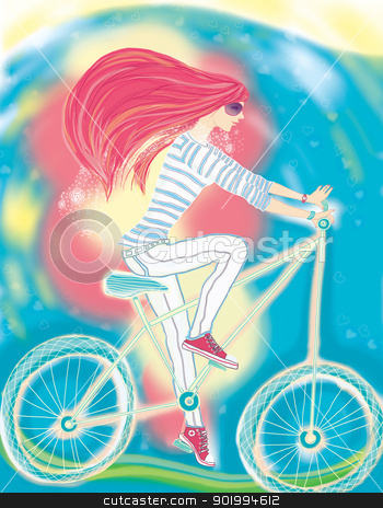 The girl and a bicycle. stock photo, The girl and a bicycle. The raster illustration of the beautiful harmonous girl which goes for a drive on a bicycle. She conducts a healthy way of life and is full of strength.  by Natalia Konstantinova